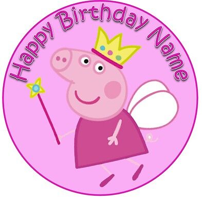 EDIBLE Peppa pig fairy Cake Topper Birthday Party Wafer Paper 19cm (uncut) ()