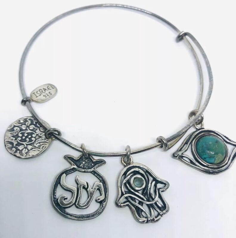 Fabulous Shablool Didae Sterling Silver Charm Bracelet Topaz Vintage Jewelry