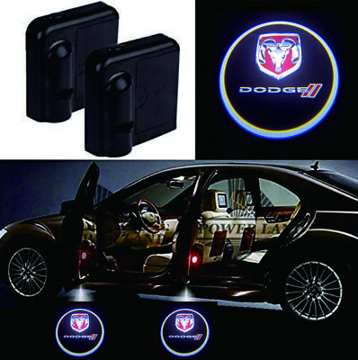 2Pcs Dodge Car Door Welcome LED Lights Courtesy Projector Ghost Shadow Sticker