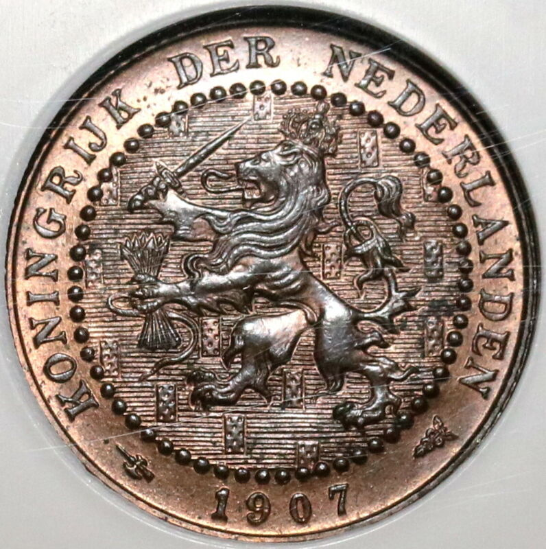 1907 NGC MS 64 RB Netherlands 1 Cent Key Date Coin Wilhelmina POP 1/0 (20061501C