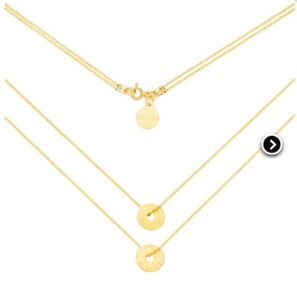 Double necklace, silver coated with 24k gold, -BNIB