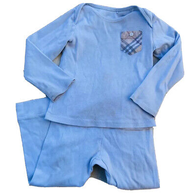 Baby Burberry Pajama Outfit Size 18 Months Light Blue Has Staining