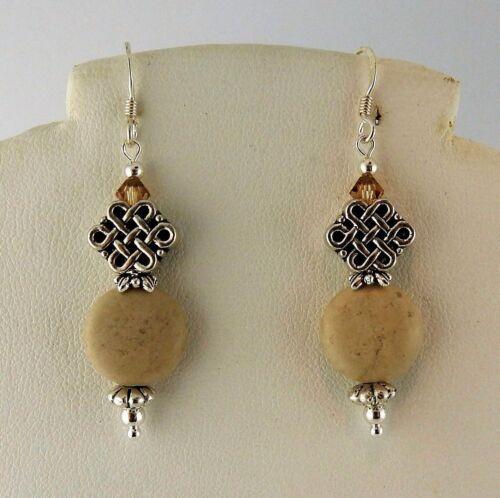 Irish Ulster Marble Celtic Knot earrings w/ Swarovski crystal beads