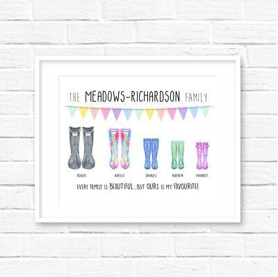 Personalised Family Wellies Print! Personalised Family print! Welly Print! ()