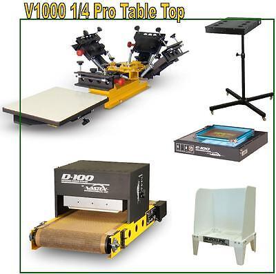 Vastex V-1000 Screen Printing Press 1 Station 4 Color Start Up Shop Supplies