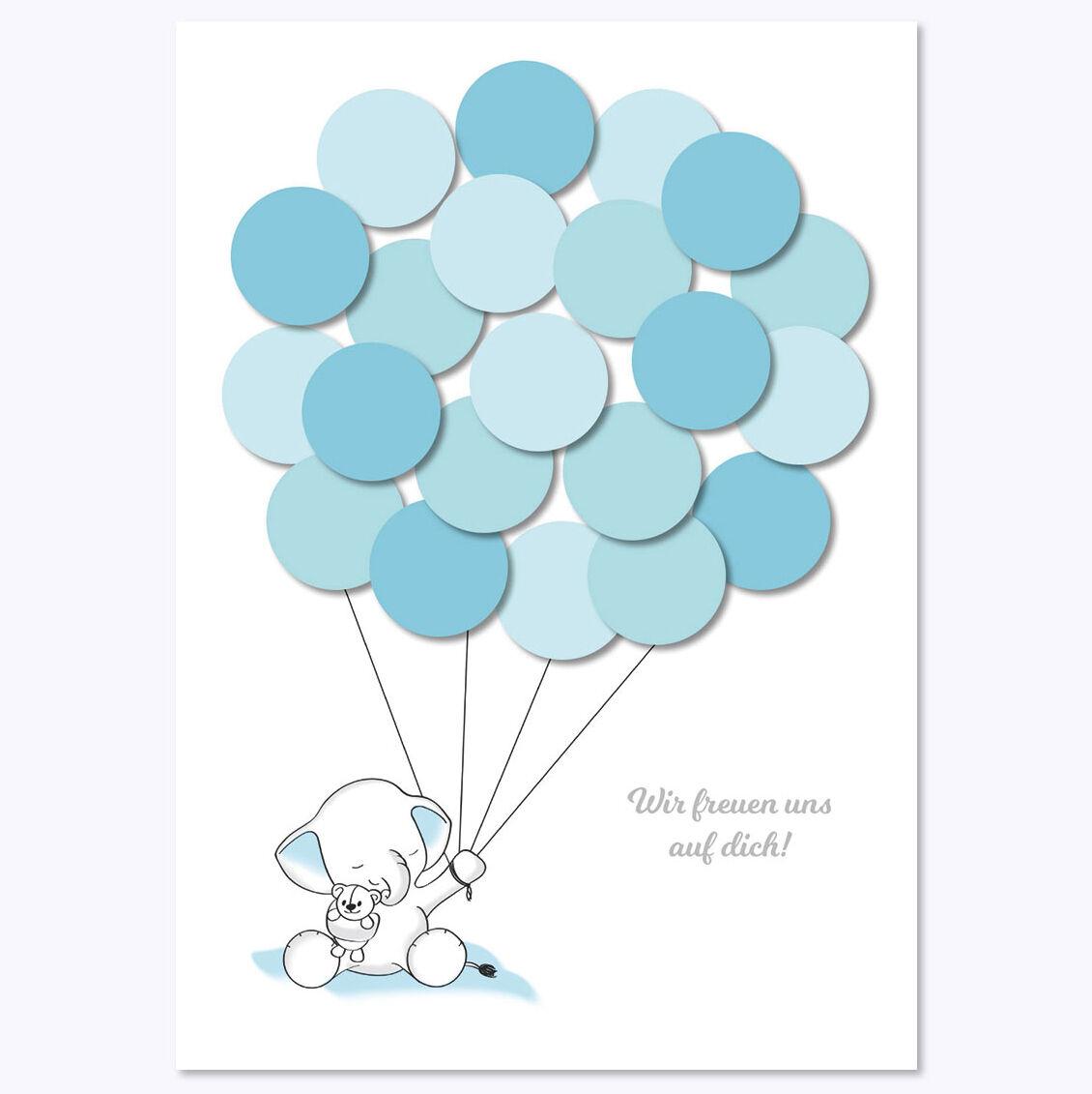 Babyparty, Baby Shower, Deko, Baby Andenken, Elefant, junge, blau von Mia-Felice