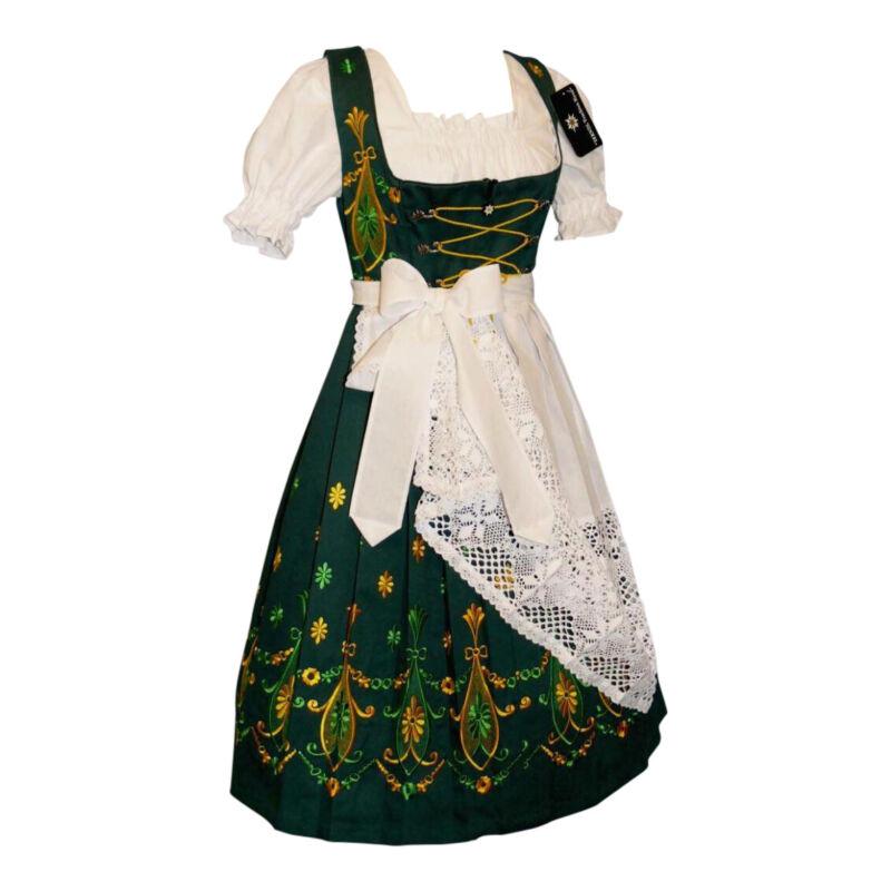 Sz 12 M Dirndl Trachten German Dress Waitress Oktoberfest Long Green EMBROIDERED