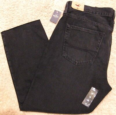 Hollister Straight Fit Fray Ankle Cut Off Black Denim Jeans Pants NEW Men - Ankle Straight Men Jeans