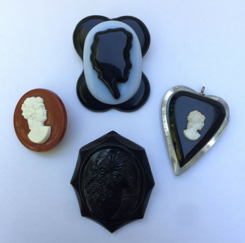 Group Of 4 Lucite Vintage Plastic Cameo Pins Brooches & Pendant