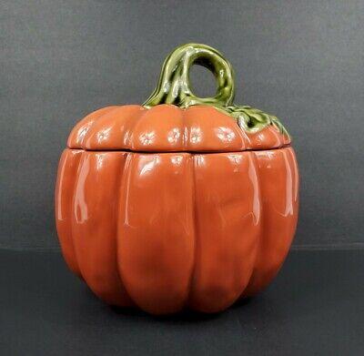 "2011 Better Homes and Gardens 9"" Ceramic Pumpkin Cookie Jar Excellent Condition"