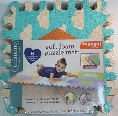 Infantino Go GaGa Soft Foam Puzzle Baby Mat 6 Puzzle Squares (11 Square Ft.) New