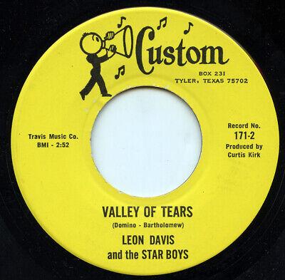 Rare Country 45 - Leon Davis & Star Boys - Valley Of Tears - Custom Records - M- - Custom 45 Records