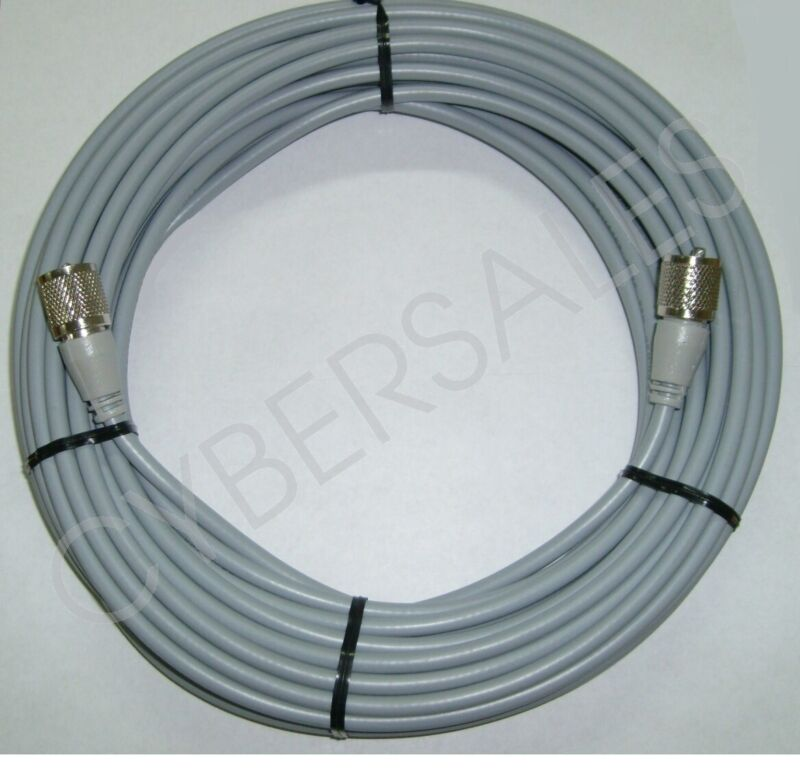 Workman 50 foot ft. Gray RG8X Antenna Cable mini8 coax PL259 ends CB / Ham Radio
