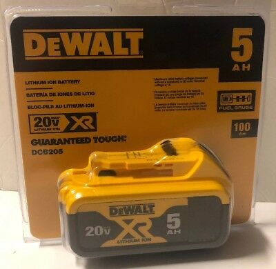 BRAND NEW DeWALT DCB205 20V Volt MAX XR 5.0Ah Li-Ion Battery Pack w/ Fuel Gauge