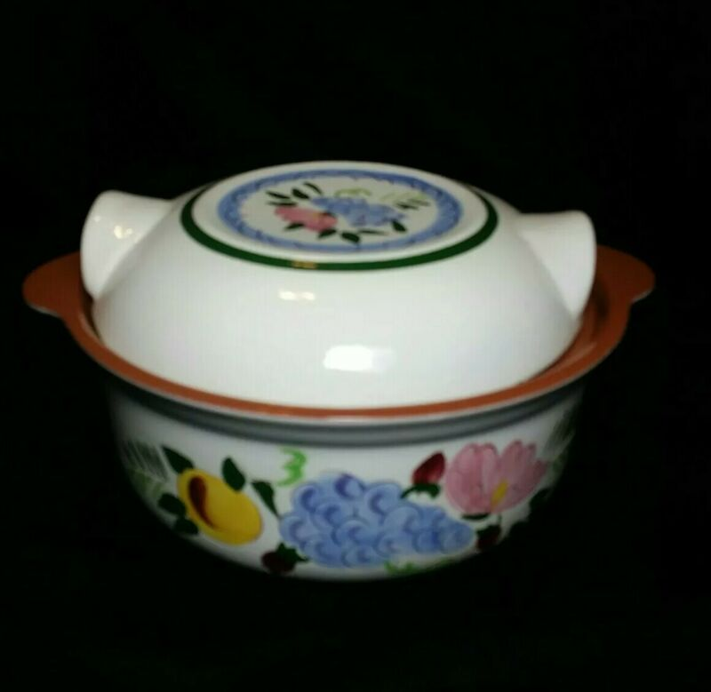 Vintage STANGL Fruit and Flowers 1.5 Quart Round Covered Casserole