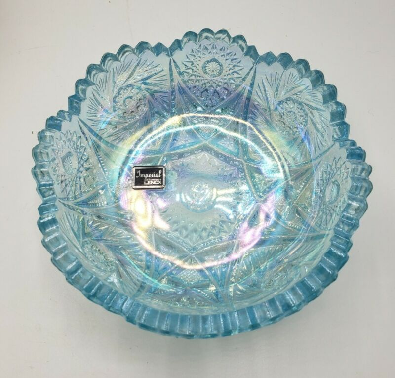 Vintage Imperial Glass Lenox Blue Carnival Glass Candy Bowl Signed Iridescent