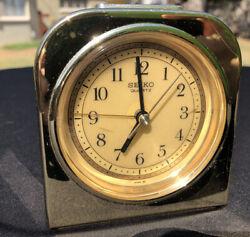 Vintage Seiko Touch & Glow Quartz Table / Desk Alarm Clock w/ Gold Tone