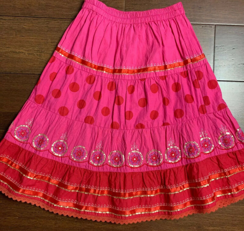 Trelise Cooper Kids Skirt Size 6 Pink Red Cotton Embroidered W/ Satin Trim