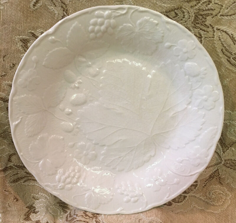 Strawberry and Grape Leaf White by Burleigh Dinner Plate Embossed Davenport L119