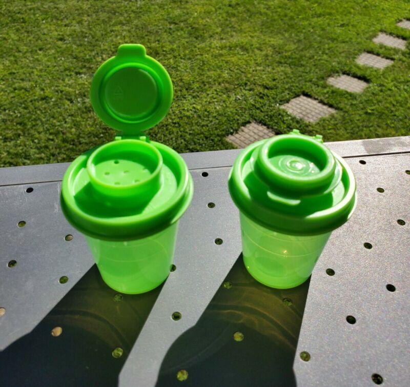 New TUPPERWARE Midget Salt & Pepper Shakers 2 OZ Set of 2 FREE US SHIPPING