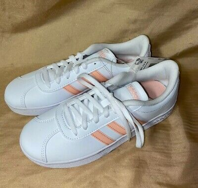 NEW size 1 ADIDAS KIDS Court 2.0 Athletic Gym Shoes girls white & peach