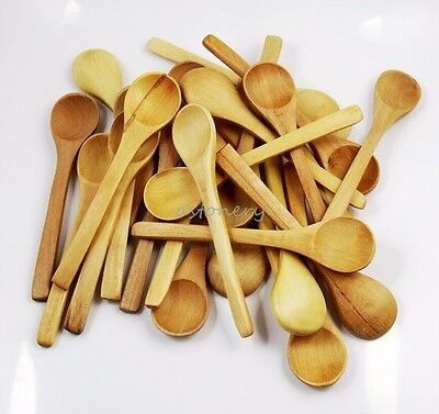 20x Mini NATURAL Wooden HANDCRAFT Cooking Condiments Salt Spoons children scoop](Wooden Spoons Bulk)