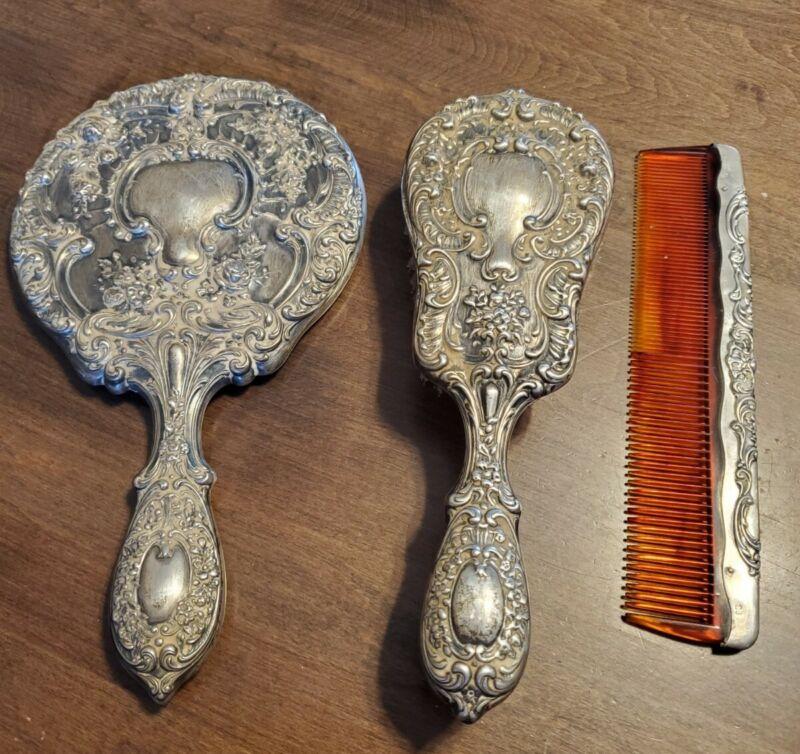 "Vtg Gorham Sterling Filigree Vanity Set #23 ""Buttercup"" Brush,Mirror,Comb ~x948"