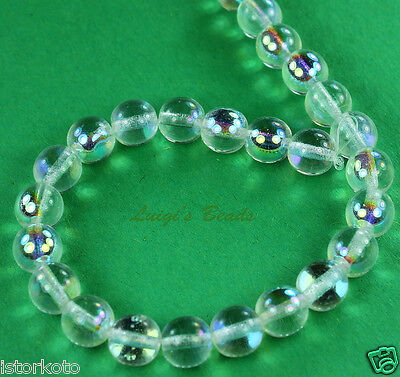25 Czech Glass Round Druk Glass Beads Crystal AB -
