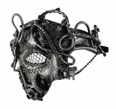 Steampunk Cosplay Science Fiction Maske Ketten Gummiband silberfarben Kostüm