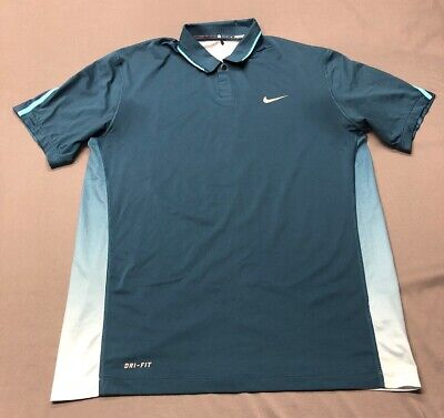 Nike Tiger Woods Collection Dri-Fit Golf Shirt Polo (M, Blue)(TZ)