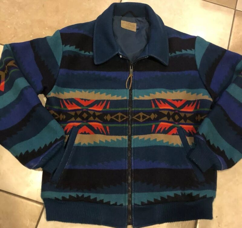 Vintage Pendleton High Grade Western Wear Wool(Aztec Navajo)Zip Up Jacket,Sz. S