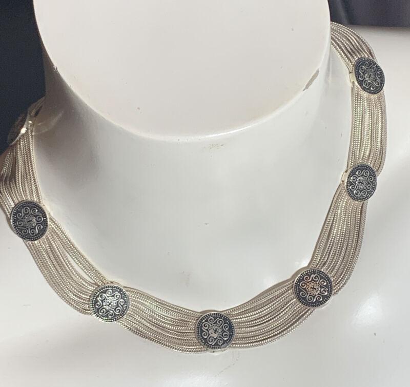 VTG Sterling Silver Enamel Fine Mesh 8 Strand Enamel Etruscan Choker Necklace