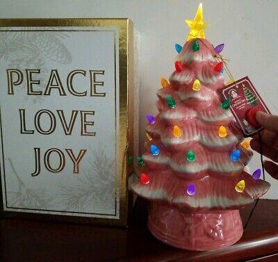 Mr. Christmas® 12-Inch Retro Nostalgic Ceramic Christmas Tree Pink Battery Timer