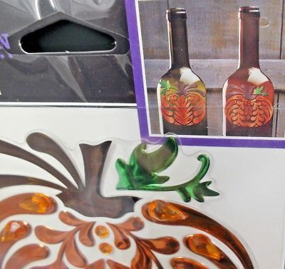 6 Halloween Pumpkin Bling Scrapbooks Cards Drinks Wine Bottle Jolee's 3D Sticker](Wine Bottle Halloween Crafts)
