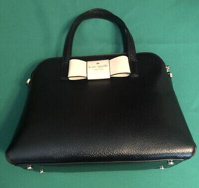 Kate Spade New York Matthews Street Maise Leather Bow Satchel Purse Black Cement