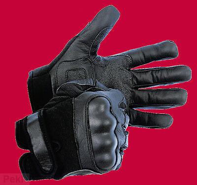 Bu SECTOR Polizei SEK Leder Handschuhe mit Protektoren und Spectra Schnittschutz ()