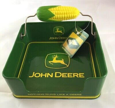 JOHN DEERE Tin Napkin Box with Corn Cob Holder Licensed Product with Tag