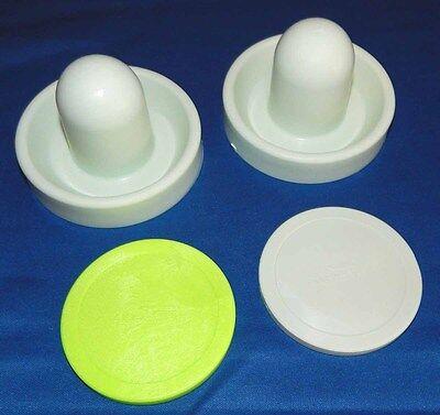 "Set of 2 Dynamo Air Hockey Table Goalie Mallets Paddles /& 3 Beige 3 1//4/"" Pucks"