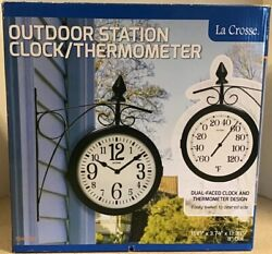 La Crosse Outdoor Station Clock Thermometer Dual Faced Analog Black