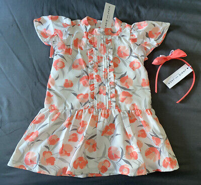 Toddler Girl 18-24 Month Janie and Jack Pink Floral Pin Tuck Dress & Headband