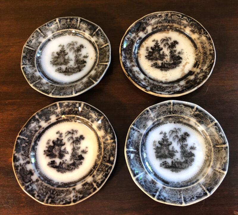 4 Antique Black Mulberry Transferware Butter Pats