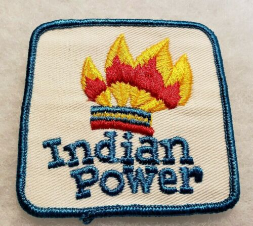 Vintage NOS INDIAN POWER Patch Hat Jacket Logo Headdress Chief Tribal Patch