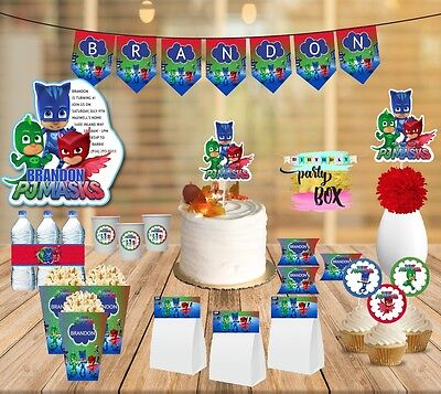 PJ masks Party Supplies package - cupcake toppers banner stickers centerpiece](Cupcake Centerpieces)