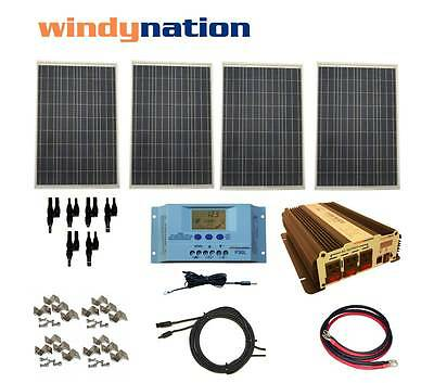 COMPLETE KIT 400 W Watt 400W Solar Panel + 1500W Inverter 12V RV Boat Off Grid
