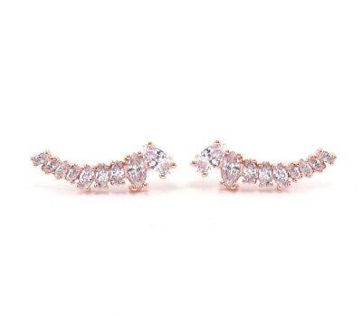 Crystal Ear Climber Earrings 18K Rose Gold Marquise Cut Cubic Zirconia Crawlers (Marquise Cut Earrings)