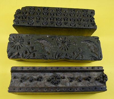 Lot Of 3 Vintage Used Handmade Design Wooden Textile Printing Block. i77-98 UK