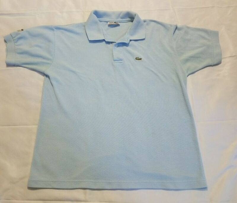 Vtg Mens Light Blue Lacoste Short Sleeve Polo Shirt Made In France XL