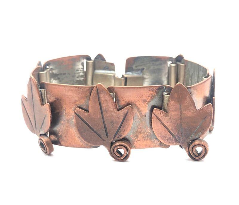 """Vintage Bracelet Signed Rebajes Flower Leaf Mid Century 6.25"""" Modernist"""