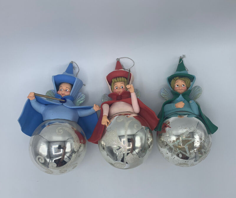 Disney 3 Fairy Godmothers Fauna Flora Merryweather Ornaments Set Sleeping Beauty