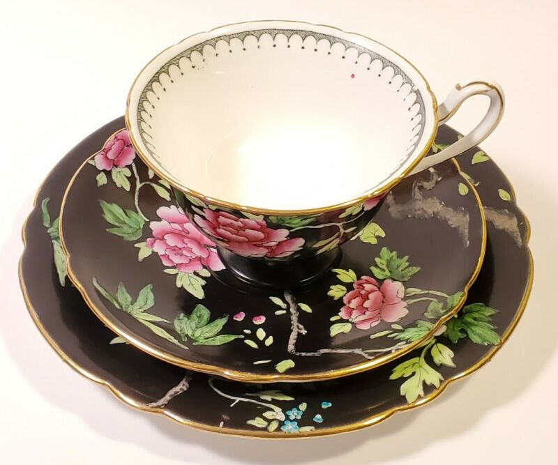 Scarce Shelley Antique Trio Teacup & Saucer & Plate Gainsborough Cabbage Roses